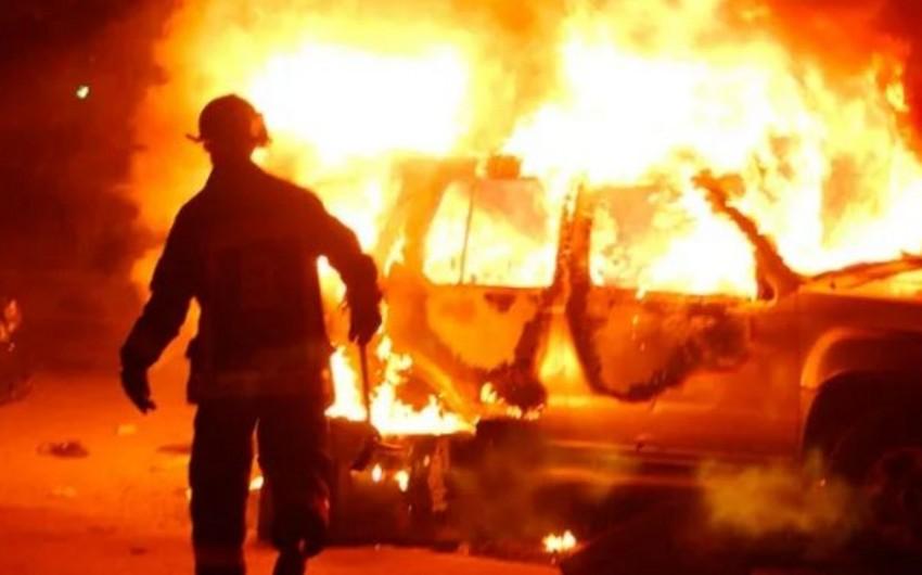 В столице в результате столкновения двух автомобилей произошел пожар, 1 человек получил ожоги