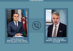 Jeyhun Bayramov informs Finnish counterpart about Armenian aggression