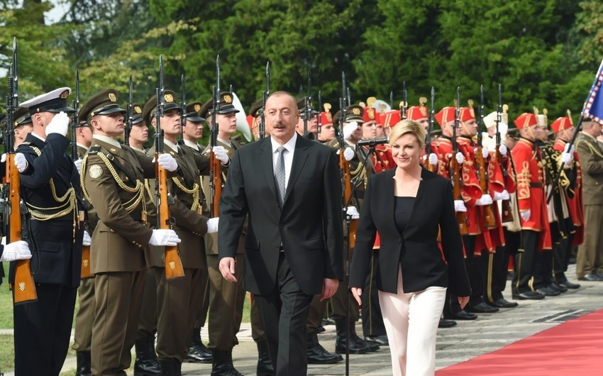 Official welcome ceremony held for President Ilham Aliyev in Zagreb
