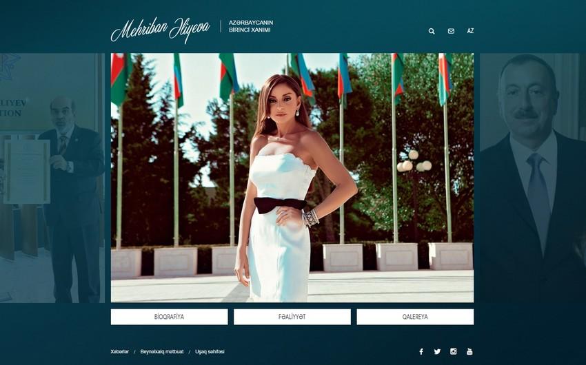Azərbaycanın birinci xanımı Mehriban Əliyevanın rəsmi saytı yeni dizaynda istifadəyə verilib