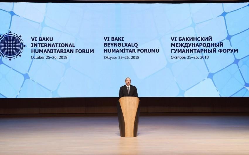 Prezident İlham Əliyev: Azərbaycan beynəlxalq humanitar əməkdaşlığın dərinləşməsi üçün çox önəmli ölkəyə çevrilmişdir