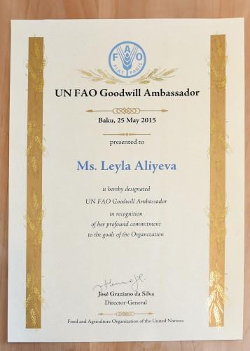 Leyla Əliyeva FAO-nun xoşməramlı səfiri adına layiq görülüb