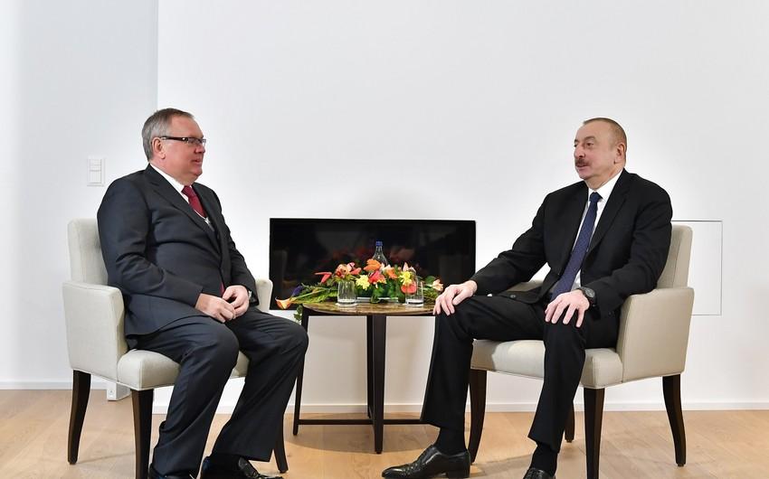 """Prezident İlham Əliyevin """"VTB-Bank""""ın prezidenti ilə görüşü olub"""