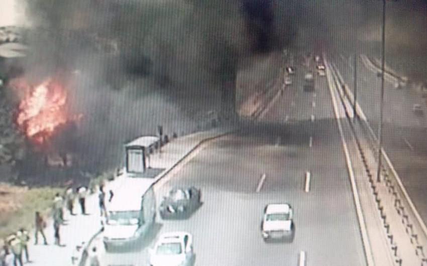 На дороге в направлении Мярдякан произошел пожар