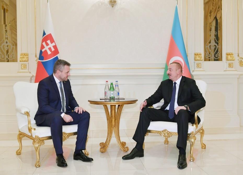 President Ilham Aliyev, Slovak Prime Minister Peter Pellegrini hold one-on-one meeting