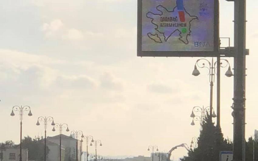 """Bakıdakı elektron tablolarda """"Qarabağ Azərbaycanındır!"""" ifadəsi yerləşdirilib"""