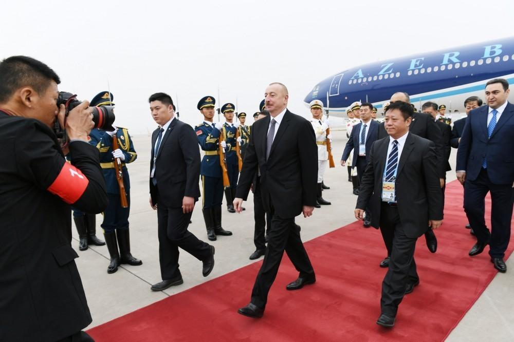 President Ilham Aliyev arrived in China for working visit