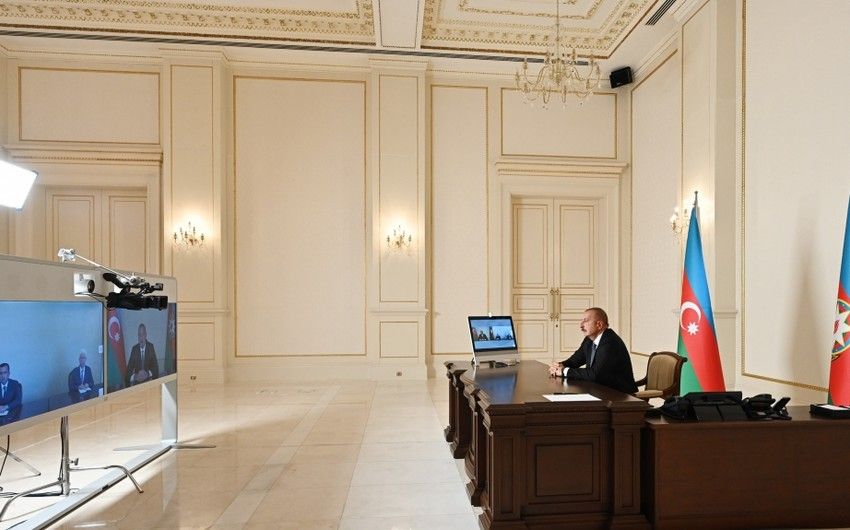 President Ilham Aliyev receives new heads of Jalilabad and Shamkir Executive Authorities in video format