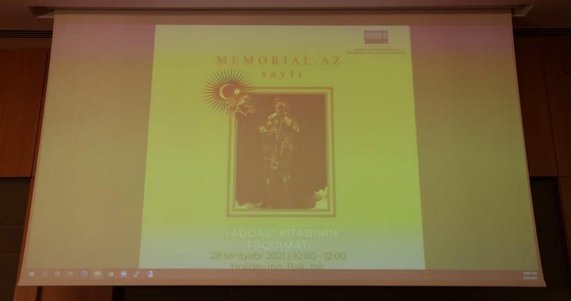 "Memorial.az website, ""Commemoration Book"" presented in Baku"