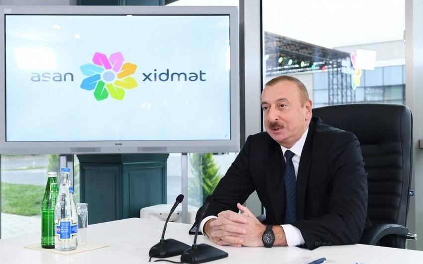 """Azərbaycan Prezidenti """"ASAN xidmət""""in vətəndaşlar tərəfindən bəyənilmə əmsalı 99,4 faizdir"""