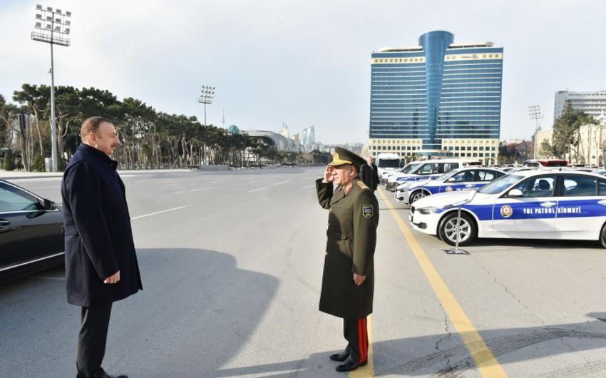 Prezident İlham Əliyev DİN-in qurumları üçün yeni alınan avtomobillərin istifadəyə verilməsi mərasimində iştirak edib