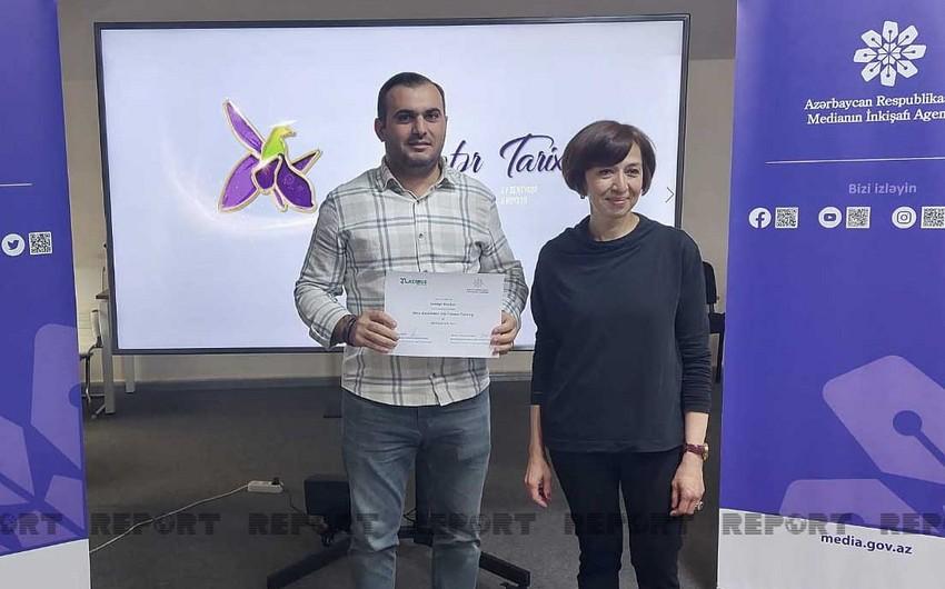Medianın İnkişafı Agentliyinin keçirdiyi təlimdə jurnalistlər təltif edilib