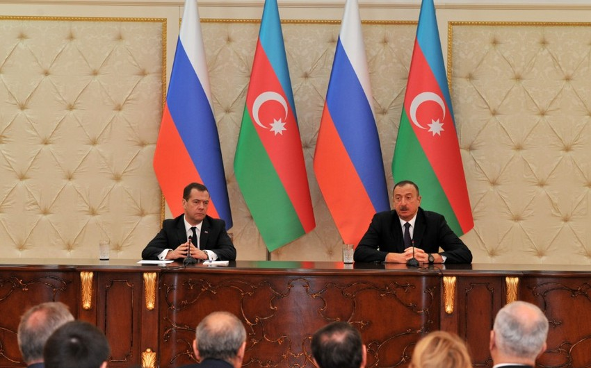 President Ilham Aliyev and Chairman of Russian government made statements for the press