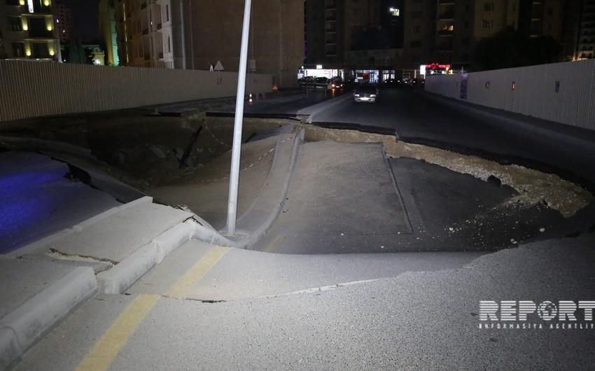 Bakının mərkəzində avtomobil yolu çöküb - FOTO - VİDEO - YENİLƏNİB