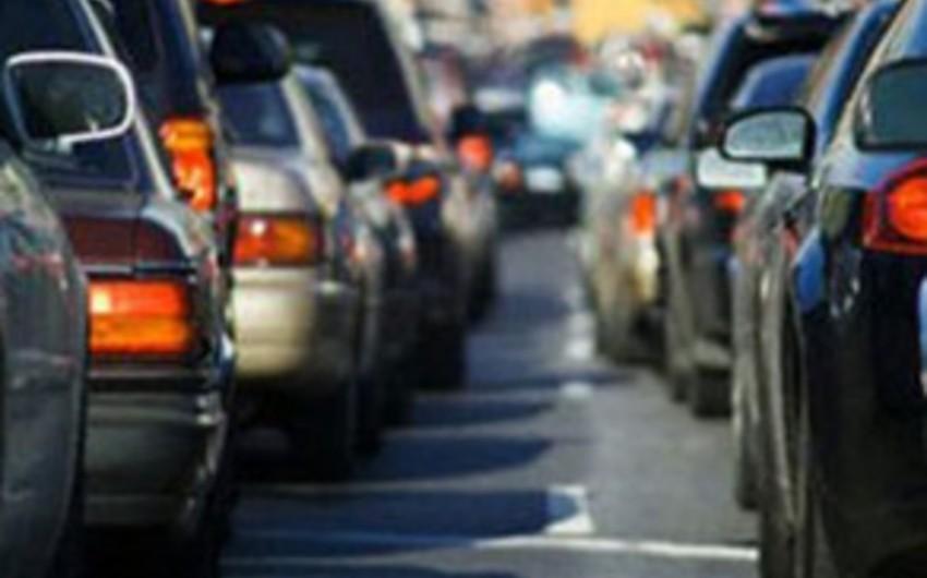 Density of traffic occurred on Baku roads