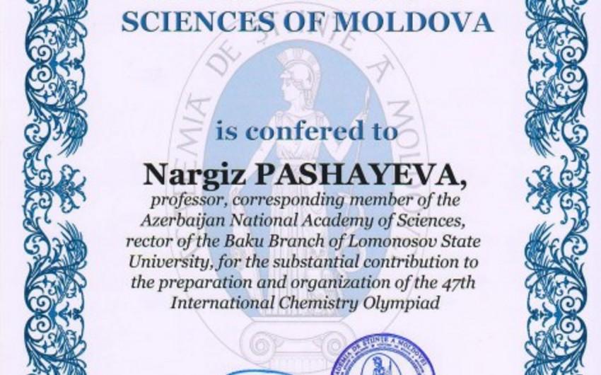 MDU-nun Bakı filialının rektoru Moldova Elmlər Akademiyasının diplomu ilə təltif edilib