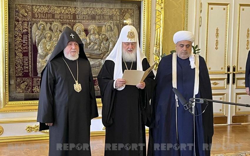Религиозные лидеры Азербайджана, России и Армении выступили с заявлением по итогам встречи в Москве