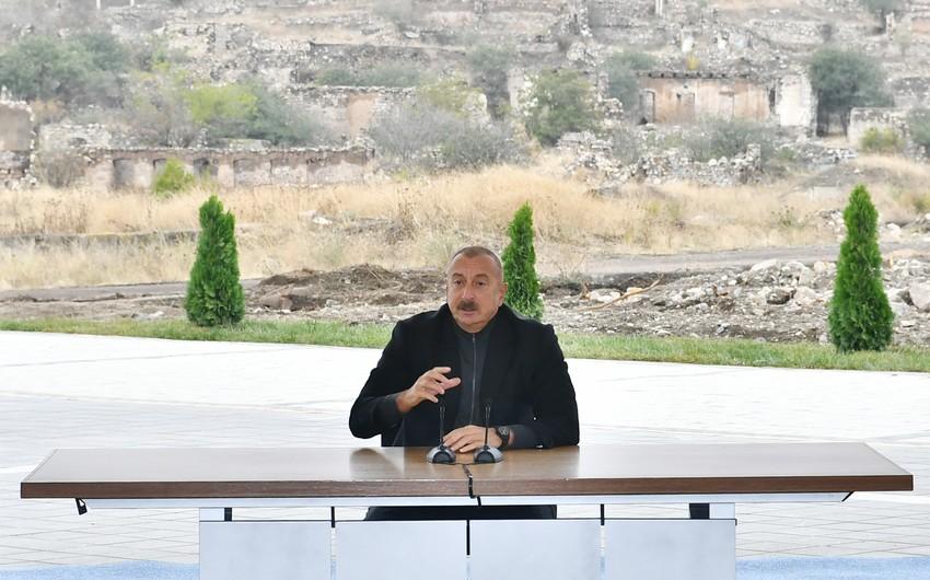 Prezident: Bu gün həm Cəbrayılda, həm də işləri artıq başlanan Ağdamda, Şuşada ən yüksək səviyyəli işlər görüləcək