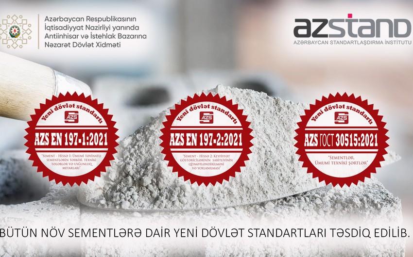 Azərbaycanda bütün növ sementlərə dair yeni dövlət standartları təsdiqlənib