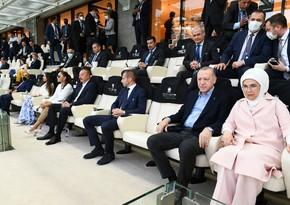 Ilham Aliyev, Recep Tayyip Erdogan watching Turkish national team's game