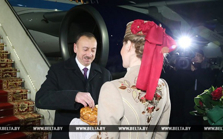 President Ilham Aliyev arrives in Belarus on an official visit