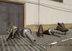 Обломки выпущенного армянами Искандера-М в Парке военных трофеев в Баку