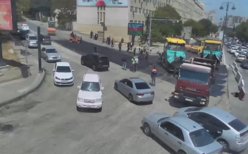 Из-за ремонта дорогина проспекте Мятбуат образовалась пробка