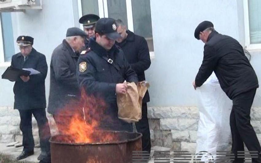 Salyanda 2 kq-dan artıq narkotik maddə məhv edilib - FOTO