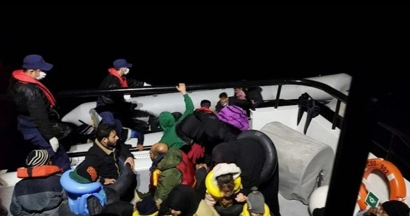 Turkish coast guard rescues dozens of migrants