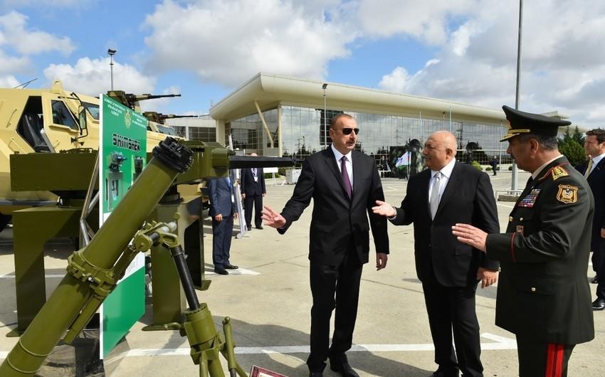 """Prezident İlham Əliyev üçüncü """"ADEX-2018"""" Azərbaycan Beynəlxalq müdafiə sərgisi ilə tanış olub - YENİLƏNİB"""