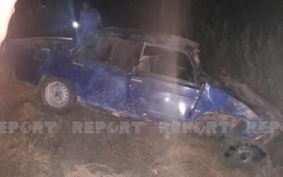 В Кюрдамире перевернулся автомобиль, есть пострадавший