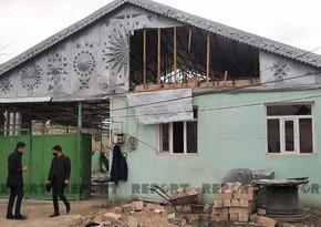 Goranboyda ermənilərin atdığı mərmilərdən dağılmış evlər yenidən tikilir