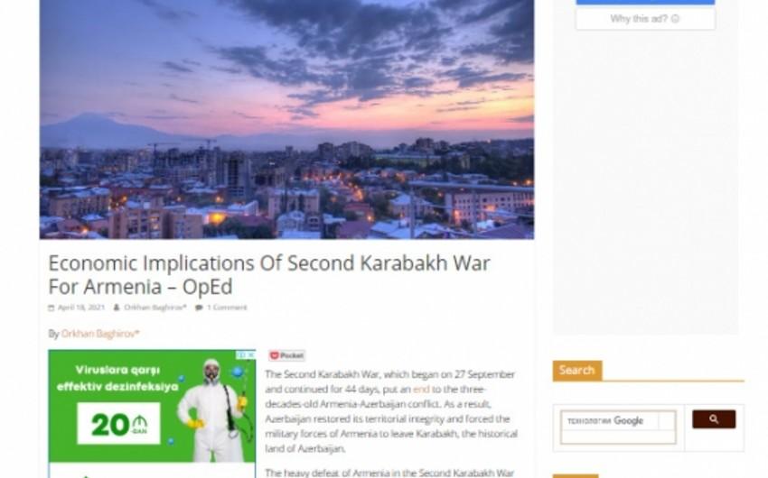 """""""Eurasia Review"""": İkinci Qarabağ müharibəsi Ermənistan üçün ciddi iqtisadi problemlər yaradıb"""