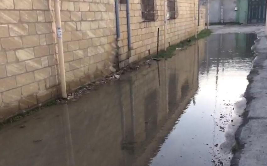 Abşeronda su borusunun partlaması səbəbindən küçələri su basıb - VİDEO