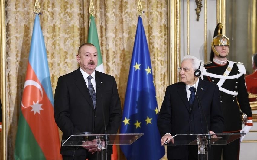 Президенты Азербайджана и Италии выступили с заявлениями для печати - ОБНОВЛЕНО