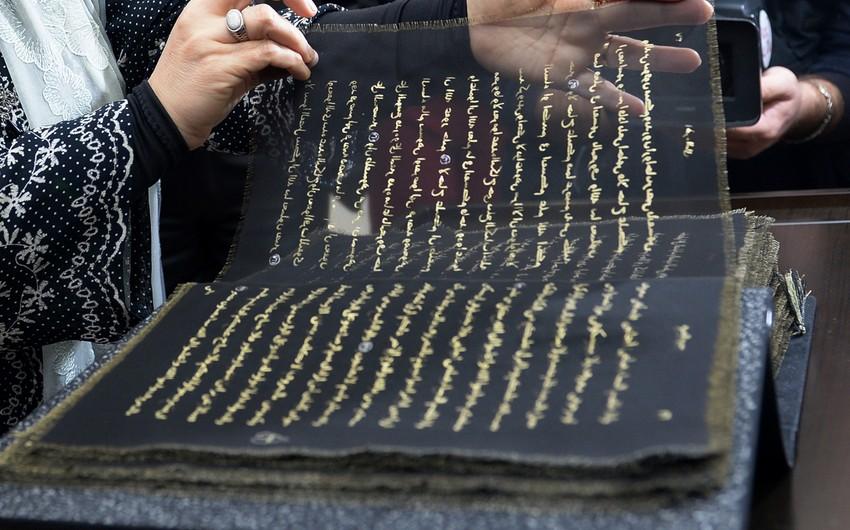 Dünyada ilk ipək kitab Qurani-Kərimin təqdimatı olub - FOTO
