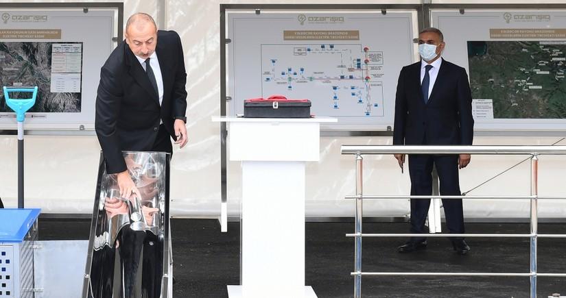 Президент Ильхам Алиев заложил фундамент Цифровой подстанции в Зангиланском районе