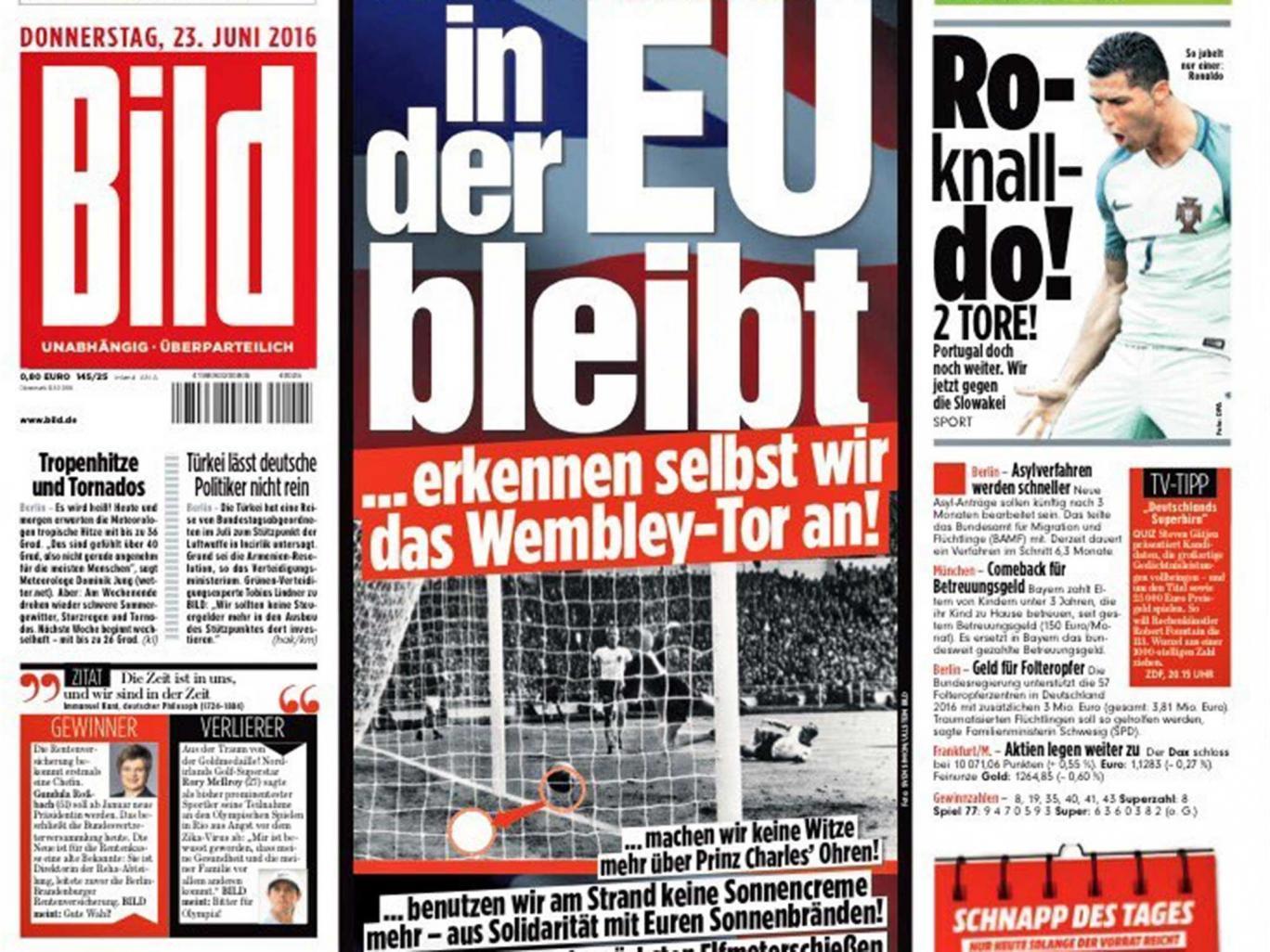 Bild: Если Великобритания останется в членстве ЕС, мы заявим о прохождении мяча в ворота на ЧМ в 1966 году