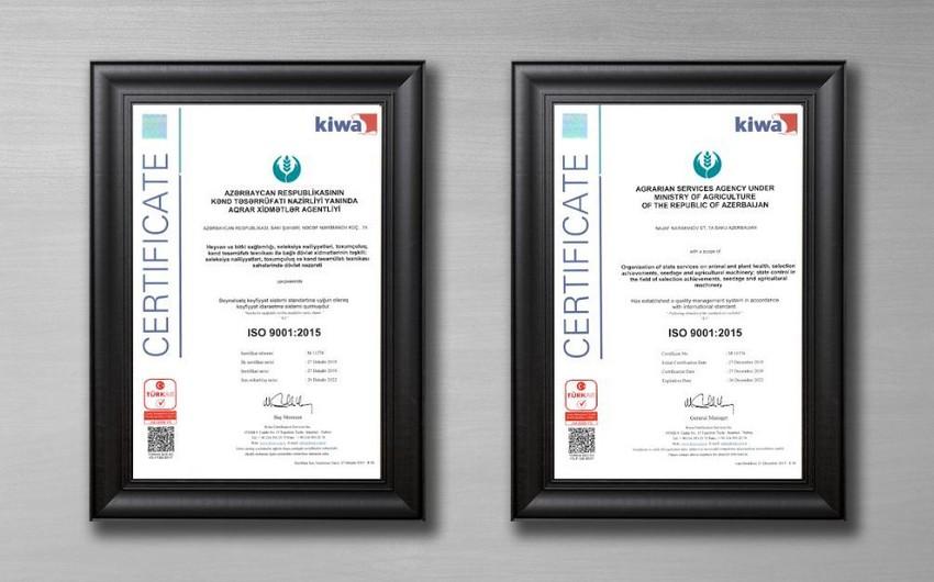 Aqrar Xidmətlər Agentliyi beynəlxalq uyğunluq sertifikatına layiq görülüb