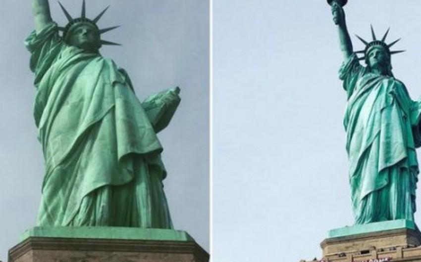 ABŞ-dakı Azadlıq heykəlinə Xoş gəlmisiniz, qaçqınlar plakatı asılıb