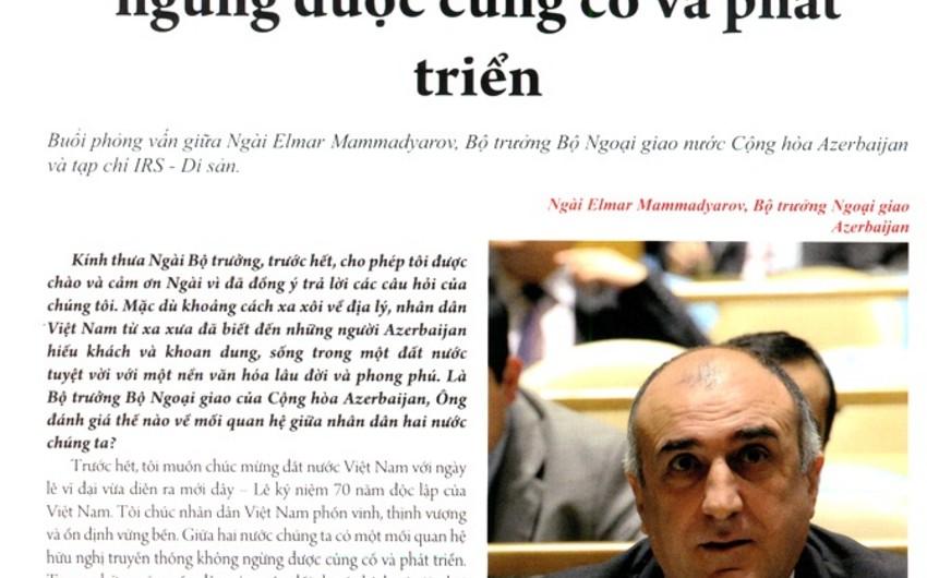 """""""İrs"""" jurnalı Vyetnam dilində nəşrə başlayıb"""