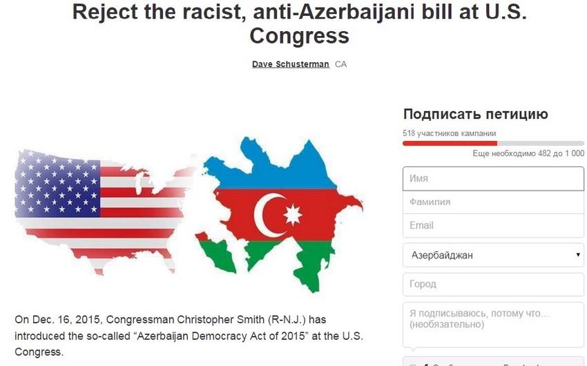 ABŞ-da konqresmenin Azərbaycanla bağlı qərəzli layihəsinə qarşı petisiya yaradılıb