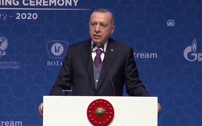 """Türkiyə prezidenti: """"Türk axını"""" kəməri yeni dövrün rəmzi layihələrindən biri olacaq"""""""