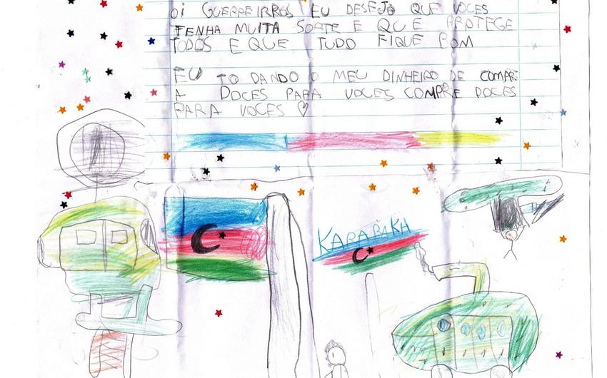 Braziliyada uşaq öz pulunu Azərbaycan əsgərlərinə yardım kimi yolladı