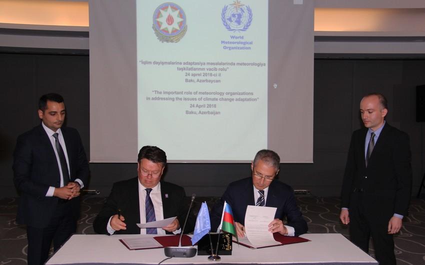 Muxtar Babayev Ümumdünya Meteorologiya Təşkilatı ilə memorandum imzalayıb