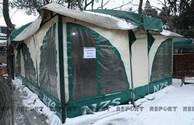 В Баку установлены палатки для обогрева - ФОТО