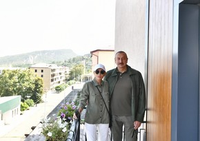 Президент Ильхам Алиев и первая леди Мехрибан Алиева приняли участие в открытии отеля Карабах в Шуше