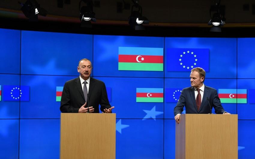 Президент Ильхам Алиев и президент Совета Европейского Союза Дональд Туск выступили с заявлениями для печати