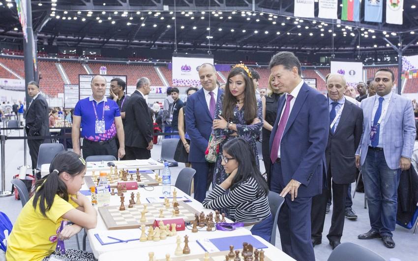 Leyla Əliyeva Bakı Şahmat Olimpiadasının VIII turunun oyunlarını izləyib