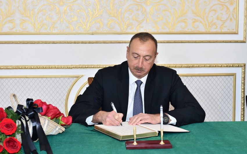 President Ilham Aliyev visits Iranian Embassy to offer his condolences over death of Rafsanjani
